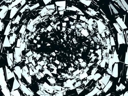 黒の上の壊れたミラー ガラスの破片。大解像度