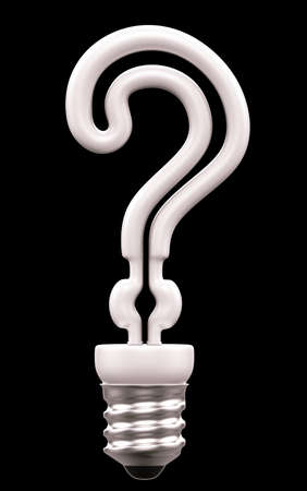 creative answers: Query mark light bulb isolated over black background
