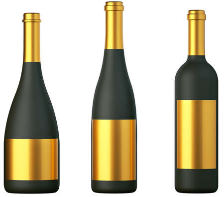 closed corks: Three black bottles for wine with golden labels isolated on white Stock Photo