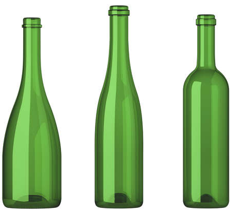 aligote: Three empty uncorked bottles for wine isolated on white