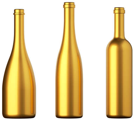 Three golden bottles for wine or beverages isolated on white