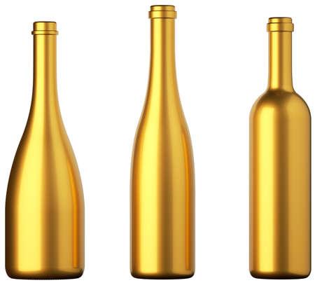 botella champagne: Tres botellas de oro para el vino o bebidas aisladas en blanco Foto de archivo