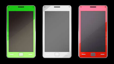 Three smart phones in different colours over black (custom created and rendered) photo