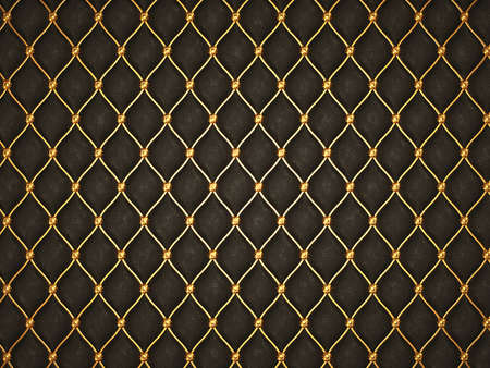 luxurious background: Black leather background with golden grid and buttons. Useful as luxury pattern