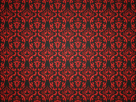 Black Leather background with red victorian ornament. Useful as pattern photo