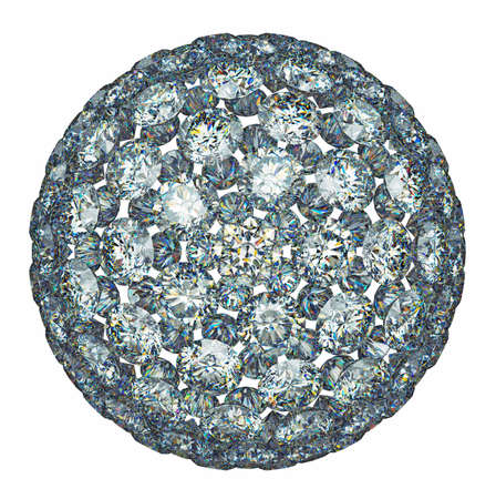 Diamonds or gemstones sphere isolated over white. Large resolution photo
