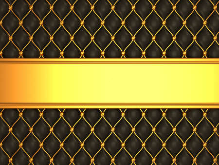 luxurious background: Leather background with golden blank line for caption. Large resolution