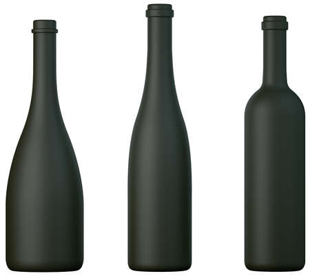 aligote: Three black bottles for wine or brandy isolated over white
