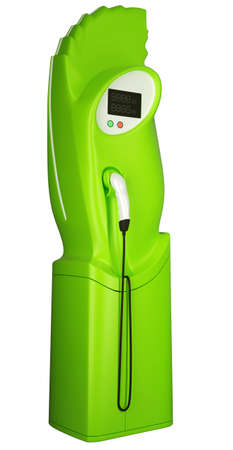 Green fuel: charging station for electric cars isolated on white photo