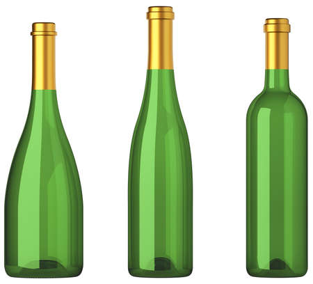 aligote: Three green bottles for wine with golden labels isolated on white Stock Photo
