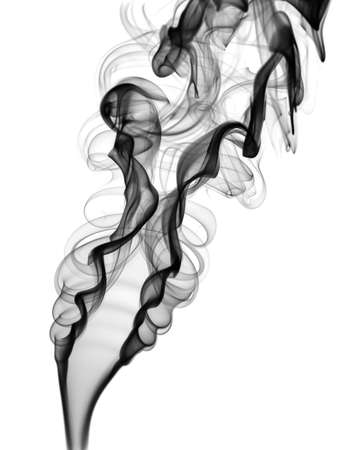 Abstract white smoke shape and curves over white background photo