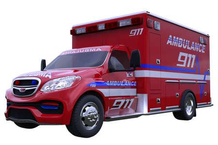 ambulancia: Emergencia: vehículo de la ambulancia aislado en blanco (todo por encargo y CG prestado)