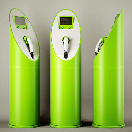 electric station: Green fuel: group of charging stations for electric cars
