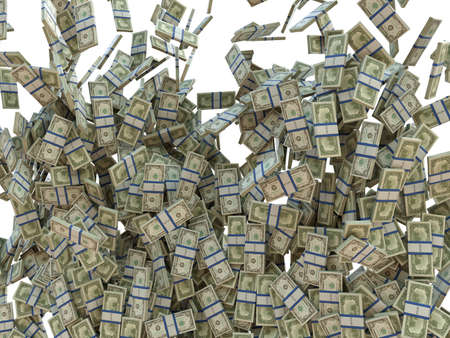 bundles: Making business  bunches of US dollars isolated on white