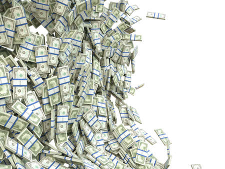 batch of dollars: Making money  bunches of US dollar isolated on white