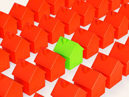 Right realty choice  special green house among group of red  On white Stock Photo - 19402344