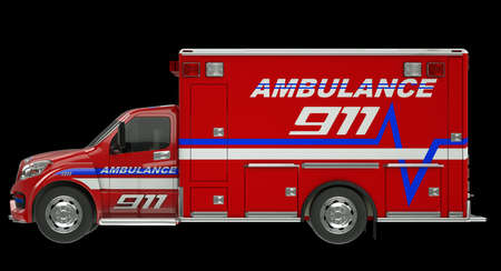 pick up: Ambulance  Side view of emergency services vehicle over black  Custom made and rendered