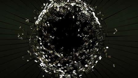 銃弾の穴のひびの入ったし、黒にある黒いガラスを粉々 に 写真素材