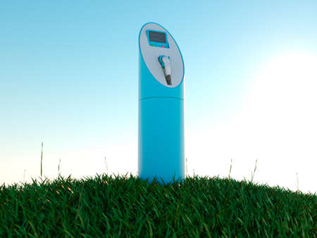 Charging station and green field at dawn photo