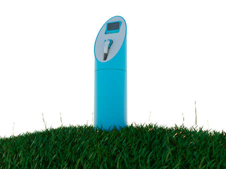 Charging station and meadow isolated on white photo