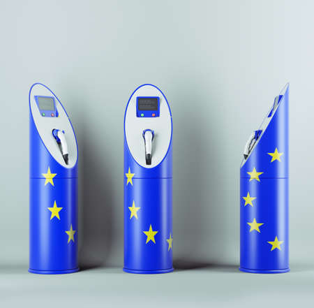 Eco fuel: three charging stations with EU flag pattern for electric cars photo