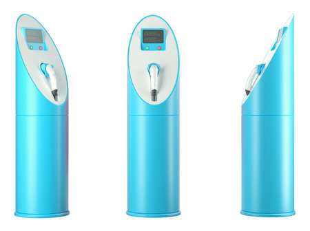 Ecology and transportation: group of blue charging stations on white photo