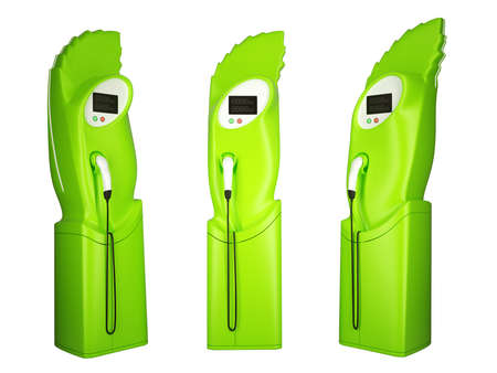 recharging: Green transportation: group of charging stations on white