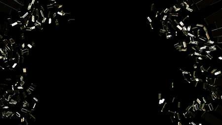 demolished: Pieces of broken or  Shattered glass on black background