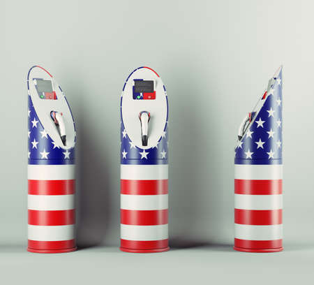 Eco fuel: three charging stations with USA flag pattern for electric cars photo