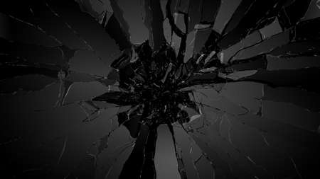 cracked glass: Shattered glass: sharp Pieces over black background