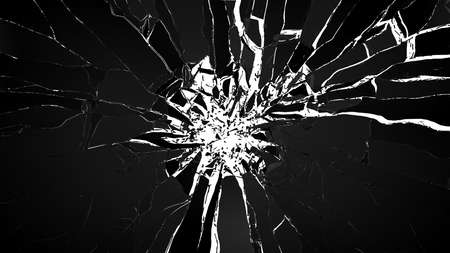 Demolishing: pieces of cubic shattered glass isolated on white photo