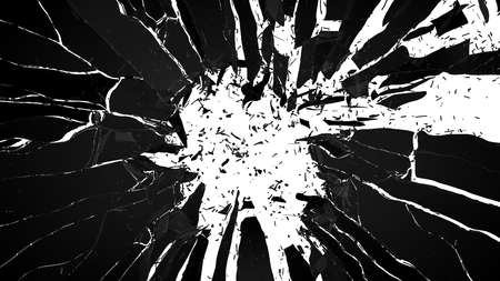 Shattered glass: sharp Pieces over white background