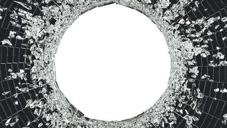 vandalism: Broken Shattered glass isolated: vandalism. on white background Stock Photo