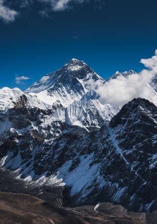 Everest Mountain Peak or Chomolungma: top of the world Stock Photo