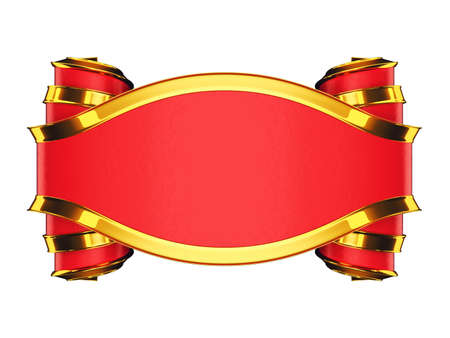 edging: Massive red emblem with golden edging and curles. Over white Stock Photo