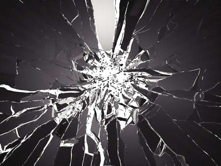 Many pieces of shattered glass on black background. Large resolution