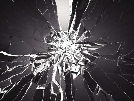 Vele stukken van gebroken glas op een zwarte achtergrond. Grote resolutie