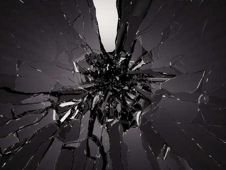 黒を粉々 に壊れたガラスの部分。大解像度