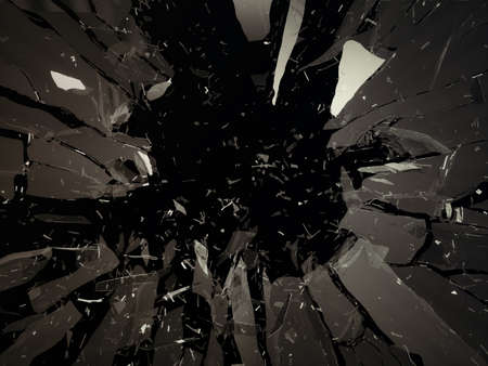 Destructed or shattered glass isolated over black background 스톡 콘텐츠