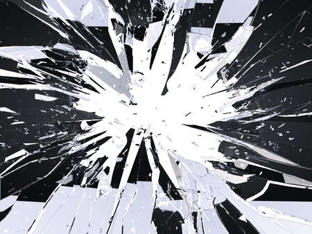 Pieces of destructed Shattered glass on white. Large resolution 스톡 콘텐츠
