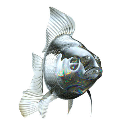 pectoral: Goldfish made of semitransparent glass isolated on white