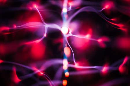 ball lightning: Plasma gas red light beams in the dark Stock Photo
