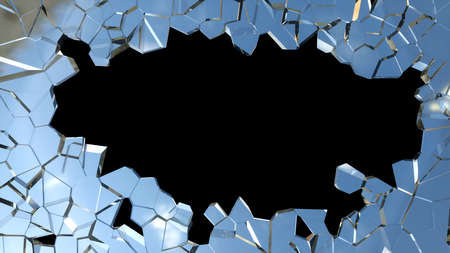 Sharp pieces of blue smashed glass and hole on black photo