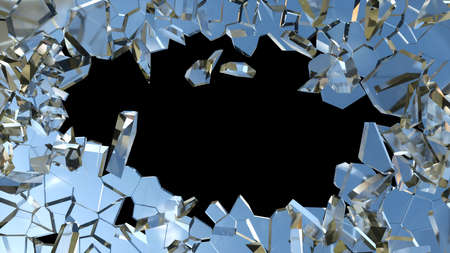 shattered glass: Shattered or smashed glass: sharp Pieces over black Stock Photo