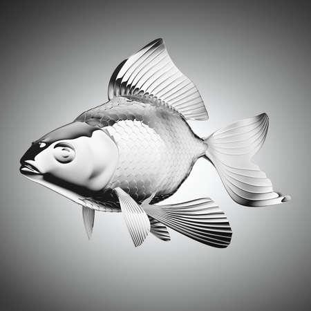 pectoral: chromium-plated goldfish over grey gradient backgorund