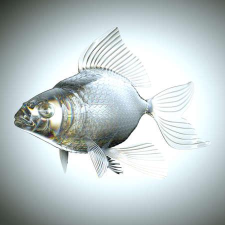 escamas de peces: Peces vidrioso con escamas y aletas sobre gris Foto de archivo