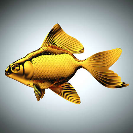 goldenfish: Goldfish made of gold over gray  Stock Photo