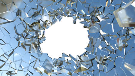 Shattered glass: sharp Pieces and hole over white background Фото со стока
