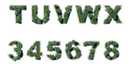 architrave: Green Garden set with grey cubing border. Letters and numerals Stock Photo