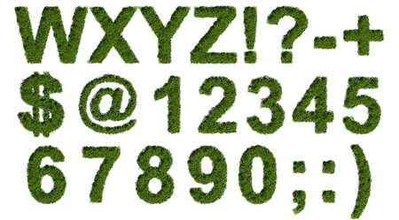 Green grass type set with letters symbols and numerals photo